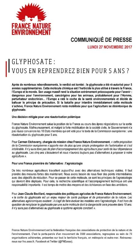 france nature environnement,pollution,glyphosate,monsanto,écologie